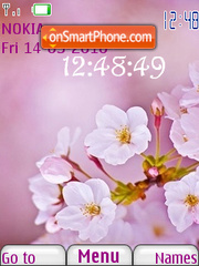 Pink Flower Clock theme screenshot