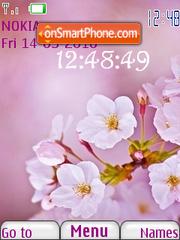 Скриншот темы Pink Flower Clock
