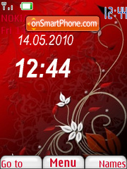 Abstract Red Clock theme screenshot