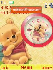 Cute Pooh Clock theme screenshot