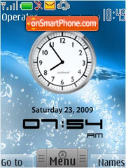 Clock on water theme screenshot