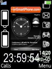 Animated Black Clock theme screenshot