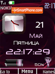 Clock, date & battery red theme screenshot