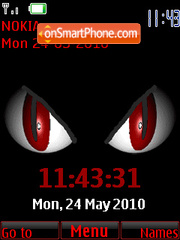 Red Eyes Clock theme screenshot
