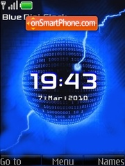 Blue digi clock theme screenshot