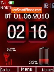 Clock date & battery red2 theme screenshot
