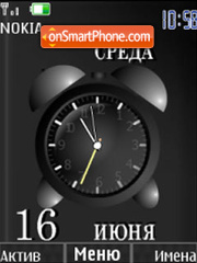 Alarm clock and date black theme screenshot