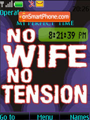 No Wife No Tension SWF CLOCK tema screenshot