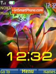 Скриншот темы Flowers and Clock
