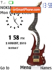 Twisted Guitar Clock theme screenshot