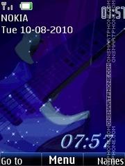 Blue guitar clock theme screenshot