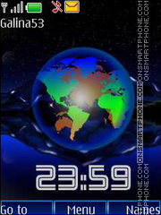 Earth clock anim tema screenshot