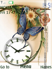 Butterfly & Clock theme screenshot