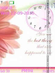 Pink Flowers Clock theme screenshot