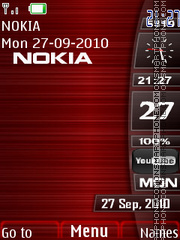 Red Metal Clock theme screenshot
