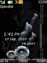 music vector clock theme screenshot