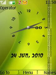 Скриншот темы Green analogue clock