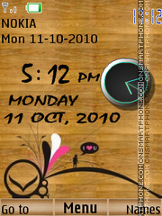 Wooden Dual Clock theme screenshot