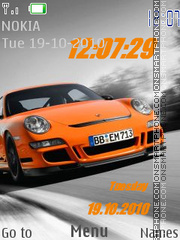 Orange Porsche Clock tema screenshot