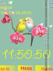 Parrot Couple Clock theme screenshot