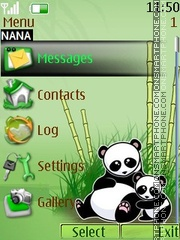 Cute Panda Clock tema screenshot