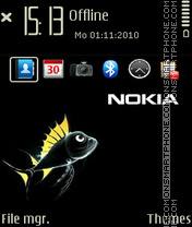 Nokia black fish tema screenshot