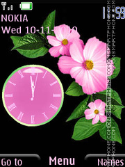 Pink flowers Clock tema screenshot