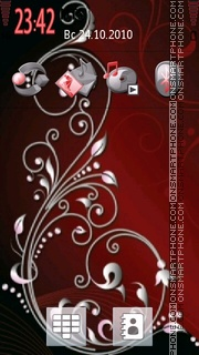 Red Floral theme screenshot