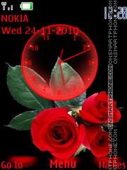 Red Roses Clock es el tema de pantalla
