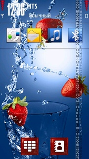 Strawberry in Water theme screenshot