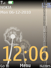 Dandelion Animated Clock 335 tema screenshot