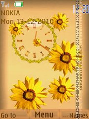 Floral clock theme screenshot