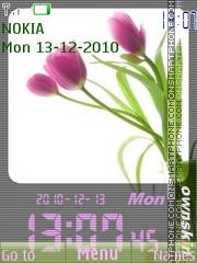 Tulips Digital Clock theme screenshot