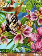 Butterfly and flowers tema screenshot