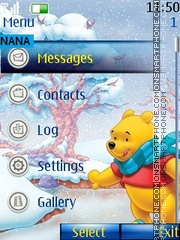 Winter Pooh Clock theme screenshot