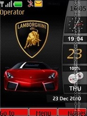 Lamborghini data sett analog and digital clock theme screenshot