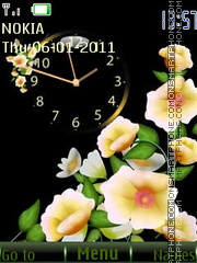 Clock & Flowers theme screenshot