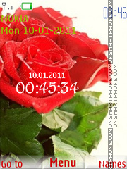 Скриншот темы Red Rose and Clock