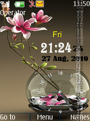 S flower dual clock Theme-Screenshot