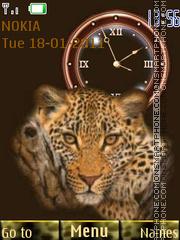 Leopard With Clock theme screenshot