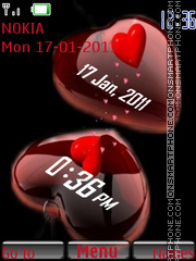 Heart Clock N Date theme screenshot