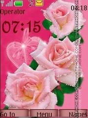 Скриншот темы Pink roses anim swf
