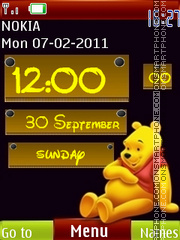 3d Cute Pooh Clock theme screenshot