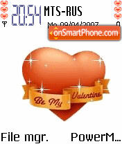 Glitter Orange Heart Animated theme screenshot