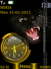 Black Cat Clock theme screenshot