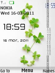 Green Leaves Clock theme screenshot