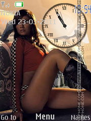 Girl and Car Clock theme screenshot