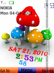 Mushroom Clock 01 theme screenshot