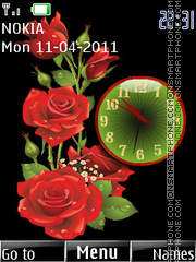Roses Clock 01 theme screenshot