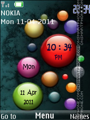 Color Bubbles Clock theme screenshot